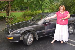 Karen with Car